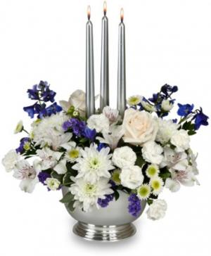 Silver Elegance Centerpiece in Elko, NV | BLOOMS & GROOMS WEDDING CHAPEL/SPRING CREEK FLORAL