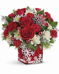Silver Snowflake  Christmas Flowers in Riverside, CA | Willow Branch Florist of Riverside