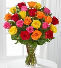 Simply Cheerful Mixed Rose Arrangement