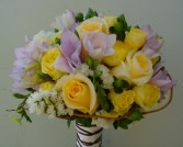 Soft Yellow, Lavender, White Roses & freesia Bridal Bouquet in Mcfarland, WI | THE PETAL PATCH