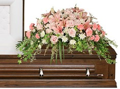 SOFTLY AT REST Casket Arrangement in Pearland, TX | A SYMPHONY OF FLOWERS