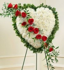 Solid White Standing Heart w. Red Rose Break