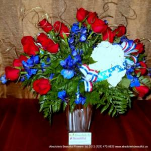 SPIRIT OF AMERICA!  Patriotic Red White Blue Fresh Flower Arrangement in Saint Petersburg, FL | ABSOLUTELY BEAUTIFUL FLOWERS