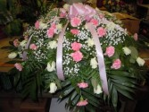 Roses, Carnations, and Baby's Breath (C4) Casket Spray