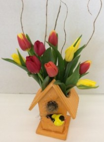 Spring Tulip Birdhouse fresh flower arrangement