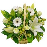 WHITE  SPRING  BASKET   ARRANGEMENT in Rockville, MD | ROCKVILLE FLORIST & GIFT BASKETS