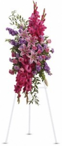 SS 8-Standing spray of mixed flowers Flowers and colors may vary