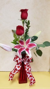 Stargazer and Rose Arrangement