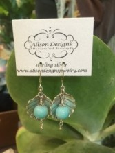 Sterling Leaves with Amazonite Drop  Gift