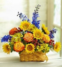 Summer Cottage Blooming Basket Sky Blue and Sunny Colored Blooms