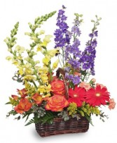Summer's End Basket of Flowers
