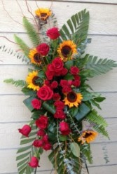 Sunflowers and Red Roses Easel Spray