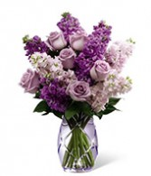 Sweet Devotion Premium Lavender roses, purple and lavender stock, purple etched vase