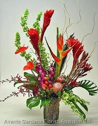 TA-1 Tropical flowers in a modern arrangement Flowers and colors may vary in Philadelphia, PA | CARL ALAN FLORAL DESIGNS LTD.