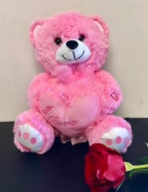 Pink Teddy Bear Kisses and Love You Message...