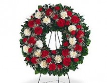 Teleflora's Red & White Carnations Wreath #14