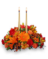THANKSGIVING UNITY Centerpiece in Pembroke, MA | CANDY JAR AND DESIGNS IN BLOOM