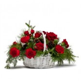 Classic Holiday Basket Fresh Flower Arrangement