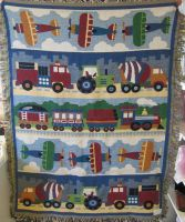 trains, planes and trucks keepsake blanket in Caldwell, ID | BAYBERRIES FLORAL