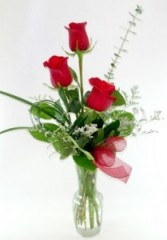 TRIPLE TREAT 3 roses any color arranged in a vase
