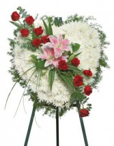 True Heart Standing Spray Funeral Flowers in Unionville, CT | J W FLORIST