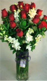 2 Dozen Long Stem Roses with Orchids