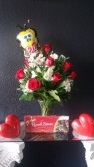 Ultimate Valentines Day Package Dozen Roses, Chocolates, Balloon, & Stuffed Animal