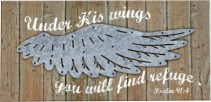 Under His Wings Wood Sign
