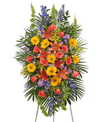 VIBRANT FLORAL EXPRESSION Standing Funeral Spray in Cedar City, UT | BOOMER'S BLOOMERS & THE CANDY FACTORY