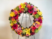 VIBRANT MEMORIAL WREATH Energetic and Vivid Colors Celebrate a Special Life
