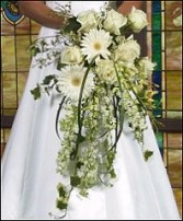 WHITE CASCADING FLORALS Bridal Wedding Bouquet in Burton, MI | BENTLEY FLORIST INC.