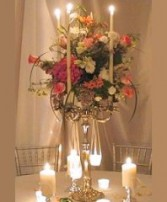 ROMANTIC CANDELABRA FLOWERS Wedding Reception Arrangements in Bayville, NJ | ALWAYS SOMETHING SPECIAL