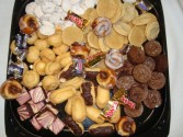 Having a party!!! Variety dessert platter!! Cream puffs, chocolate eclairs,cookies, candy,etc.Over 60 bite size treats!!Order before 5:00p.m. for next day's delivery. in Oxford, OH | OXFORD FLOWER AND SORORITY GIFT SHOP