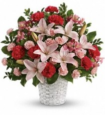 WF145 Pink Lilies & Red Carnations Basket