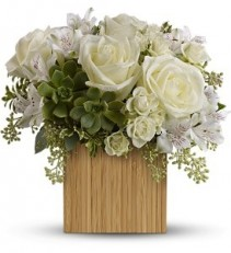 WF171  Wooden Box with White Roses