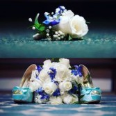 White and accents of blue  Wedding bouquet