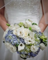 White and light blue Bridal Bouquet