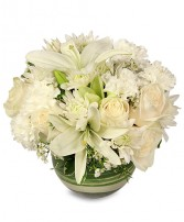 WHITE BUBBLE BOWL Vase of Flowers Best Seller in Florence, OR | FLOWERS BY BOBBI