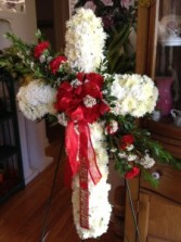White Cross with Red Roses Easel Arrangement