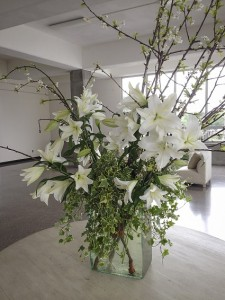 White Lilies with Blooming Branches va-111