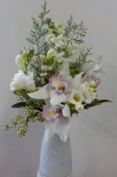 White Orchid and Freesia Arrangement