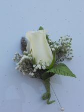 White Rose with Feathers