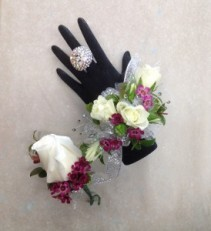 White and Purple Shimmer wrist corsage