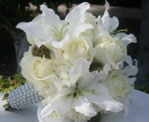 WHITE ROSES AND LILIES Wedding Bridal Bouquet