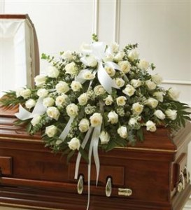 White Roses Half Casket Cover Funeral in Crestview, FL | The Flower Basket Florist