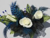 White Roses with Black Ribbon & Blue Feathers