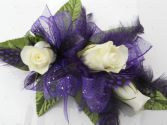 White Roses with Purple Ribbon & Feathers