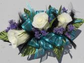 White Roses with Teal Ribbon/Black Feathers
