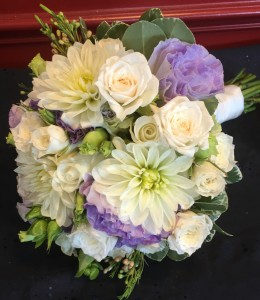 White with hint of purple bridal bouquet