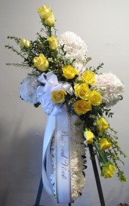 White & Yello Cross Funeral Standing Spray
